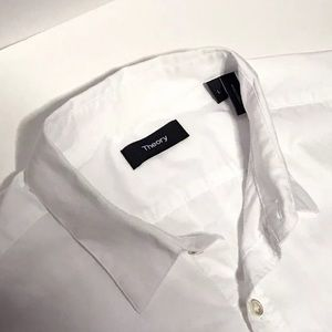 Theory white check shirt L current stock